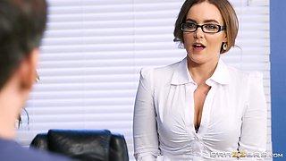 Busty teacher Natasha Nice seduces a man for a sex session