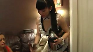 Asian maid fondles and fingers her sleeping mistress