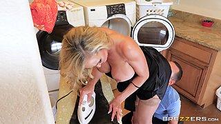 stacked blonde milf swallows a stiff prick