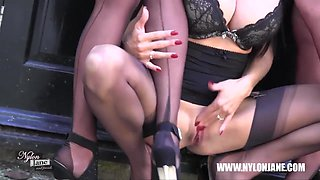 Lesbian Milf sluts smoke tease in nylon lingerie stockings