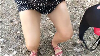 Amateur couple - public flashing and fucking in the nature