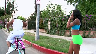 Ebony chick Toni Marie is riding her bike and sitting on dude's face
