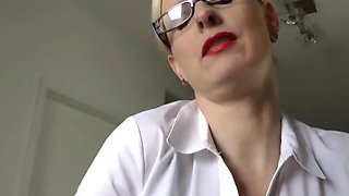 Delightful Wife In Glasses Pleasing Her Boss After Work