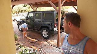 SpyFam Car wash fuck with step sister Ashly Anderson