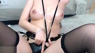 Big Tits Korean babe in stockings