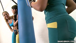 Jumping on the fitball amazing sporty Rita Marie gets too horny