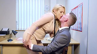 Intense sex at the office with superb Angel Wicky