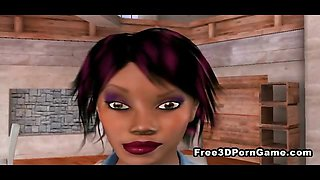 3D cartoon babes have an interracial threesome
