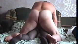 My nasty Russian wife wears kinky pantyhose and rides me on top