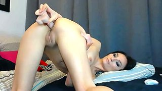 Hot flexible and voracious brunette cutie flashed tits and went solo