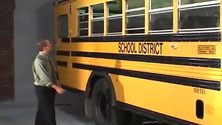 Horny babe with pigtails getting spooked hardcore in a school bus