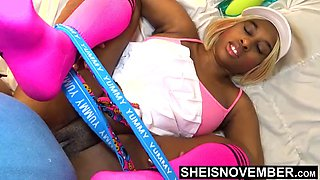 Tiny ebony tennis player rough missionary sex after lost gam