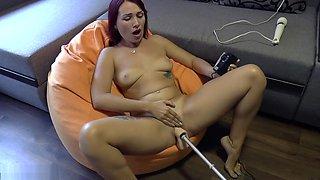 Hot dildo fucking machine