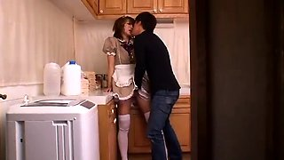 Naughty Japanese maid enjoys a session on intense pounding
