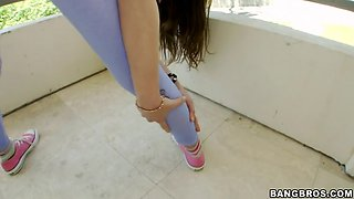 riley reid working out on the balcony