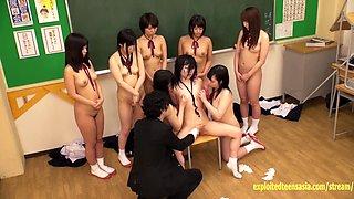 Jav schoolgirls made to bully classmate by crazy teacher