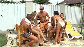 Hardcore group sex pool games