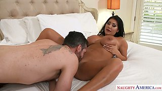 Tanned perfect Latina babe August Taylor gives her shameless BF a BJ in bathroom