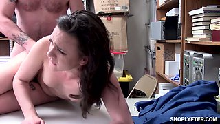 Pretty hot brunette Alex More is punished hard for shoplifting