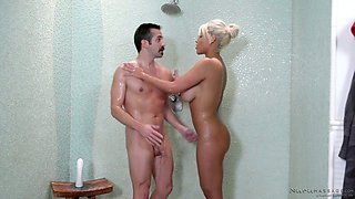Jaw dropping blond milf Bridgette B gives a splendid nuru massage
