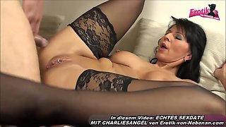 Cum on big natural tits at german mature milf mom