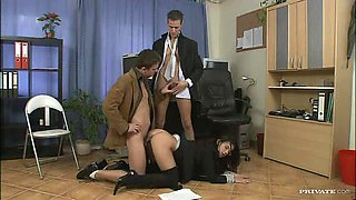Brunette Boss Fucking Her Two Bisexual Assistants In Threesome