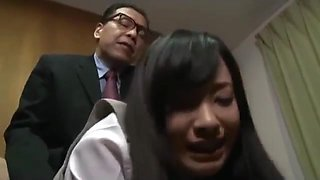 Office lady giving blowjob fucked by her boss while secretary watching them in the office clip