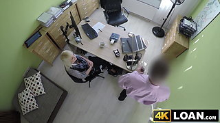 Beautiful blondie bent over and fucked hard in office