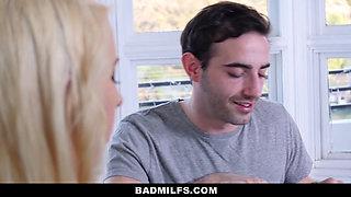 BadMILFS - Blonde Teen Catches Her Stepmom and Boyfriend Fucking
