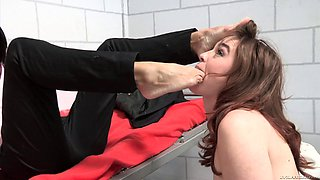 Lesbian cutie moans while having her anal stretched with a big dildo