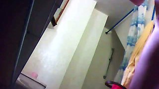 Hidden camera caught my 25 yo cousin naked in the bathroom