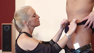 Kinky mistress makes her man lick pussy in the presence of one tited up whore