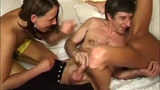 Dad joins in with daughter & gf FFM