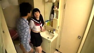 Asian teen Rin Suzune has group action in school uniform