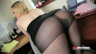 Busty blonde woman in ripped pantyhose likes it dirty and rough