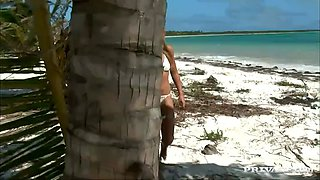 rough anal sex for a blonde on the beach