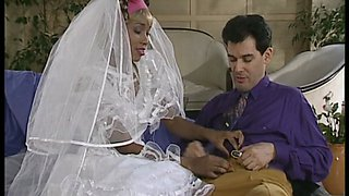 Ebony bride rides hubbies big cock on marriage night