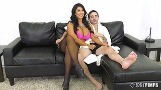 Busty brunette Raven Hart enjoys a fellow's pulsating dick