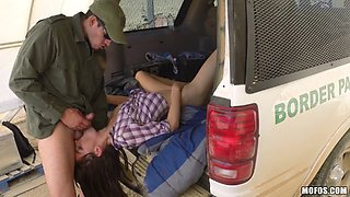 teen with small tits enjoys pinned in car fucking scene