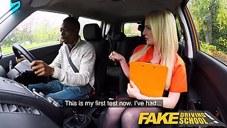 Fake Driving School Long black cock pleases busty blonde
