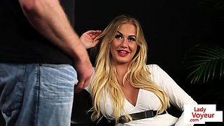 Busty voyeur babe flashing tits in JOI