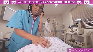 Hot ebony nurse wakes coma patient up with a generous dose of sex.