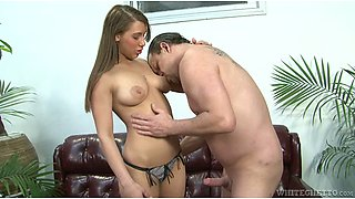 Horny dude feels up sleeping brunette and she gives him blowjob