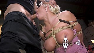 Busty bombshell blonde MILF London River tied up and abused hardcore