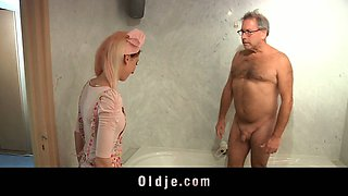 Horny young maid fucks an old hotel customer