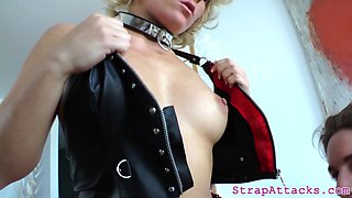 Busy domina pleasures her sub with a strapon
