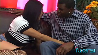 Sexy Asian chick in glasses is fucked by well endowed black dude