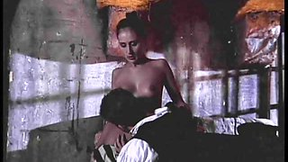 Groovy brunette doll with fake tits getting drilled till orgasm