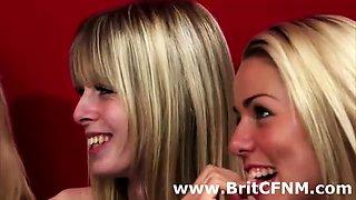 British femdom students suck CFNM coach's cock