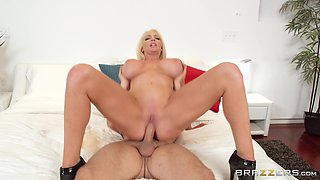 Stunning busty blonde Nicolette Shea seduced for a sex game